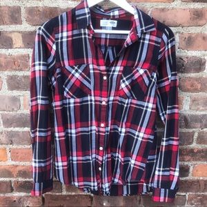 Old Navy TALL Classic Flannel Navy Red Plaid